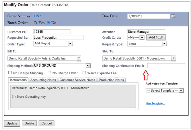 Order Detail UPS Notification Emails