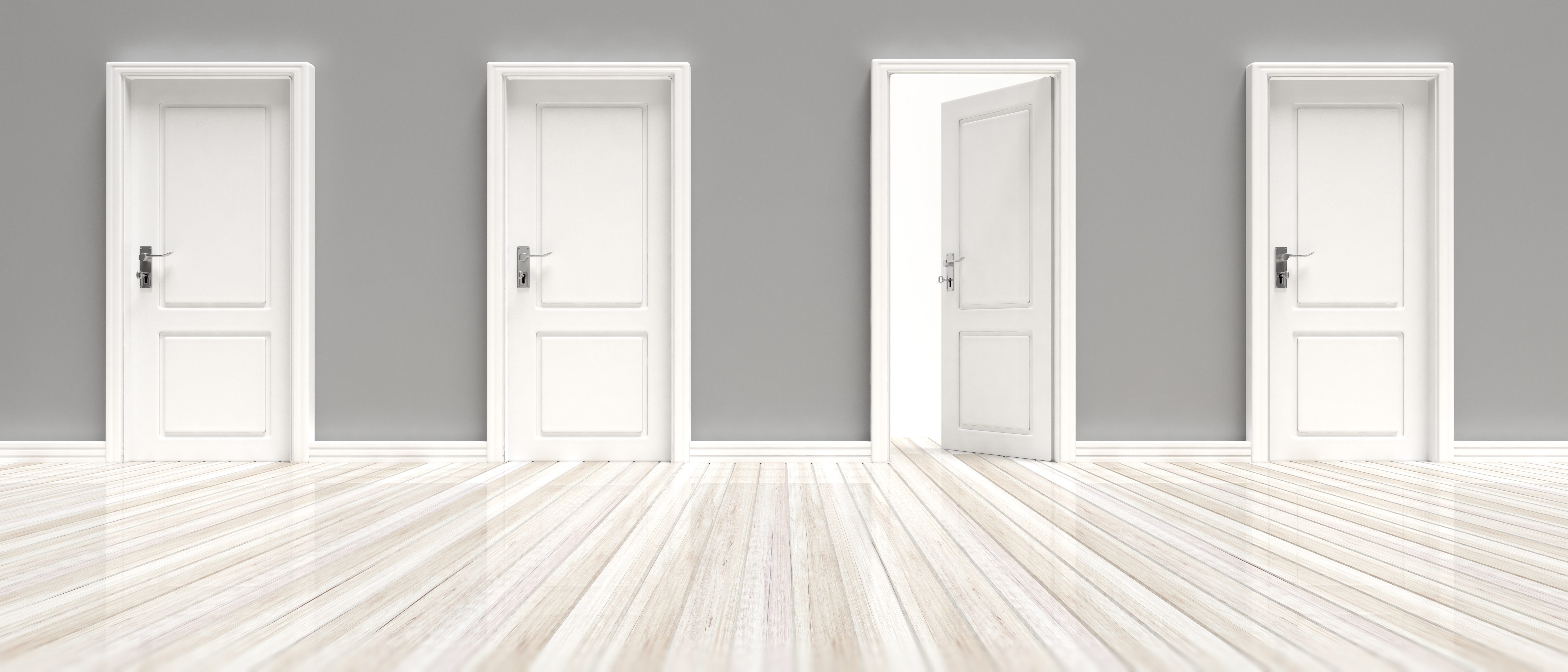 closed-and-open-doors-on-grey-wall-and-white-woode-VMAK5SY