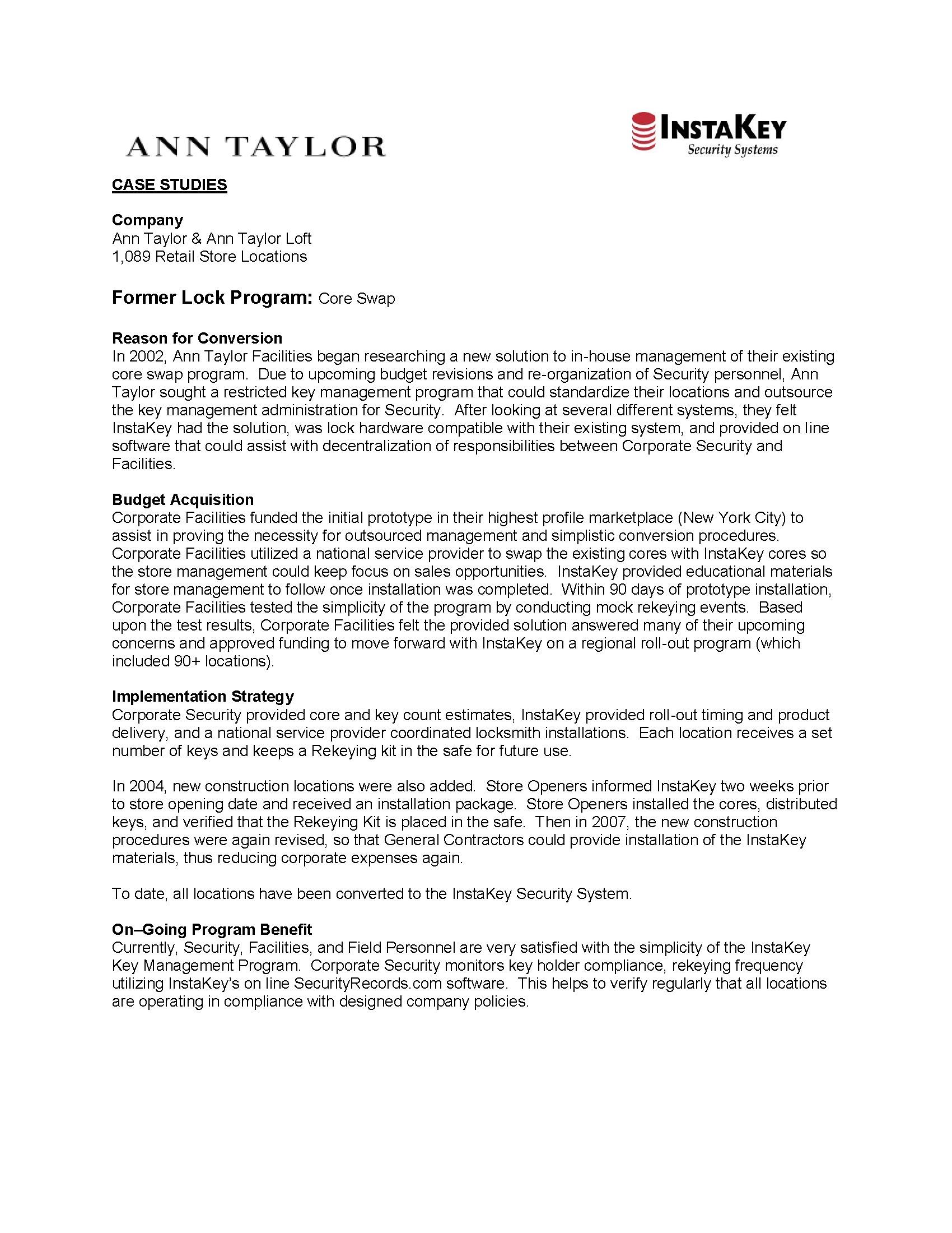 Ann Taylor – A Case Study