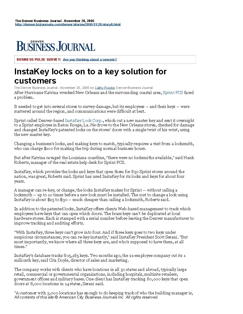 InstaKey Locks onto a Key Solution for Customers