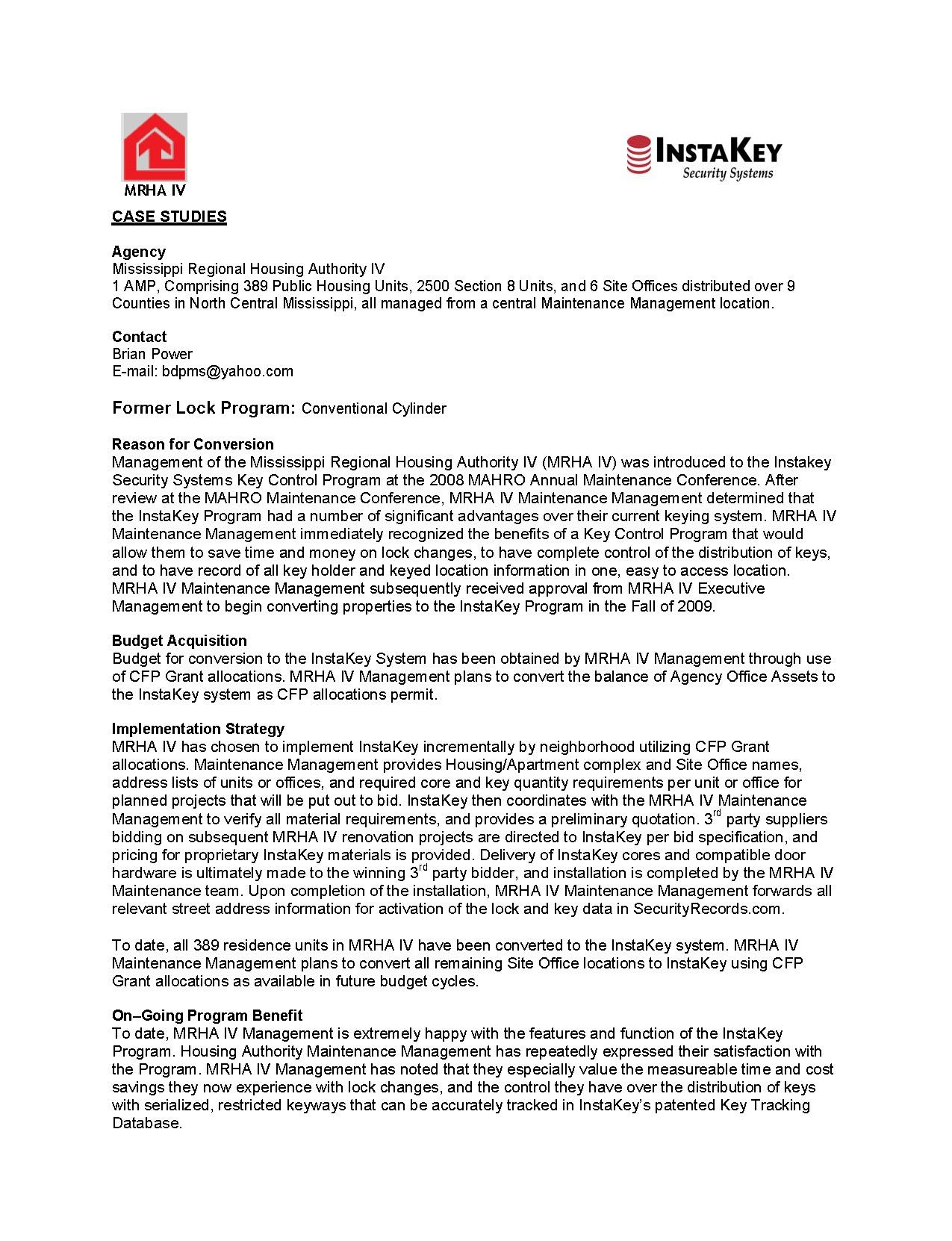 Mississippi Regional Housing Authority IV – A Case Study