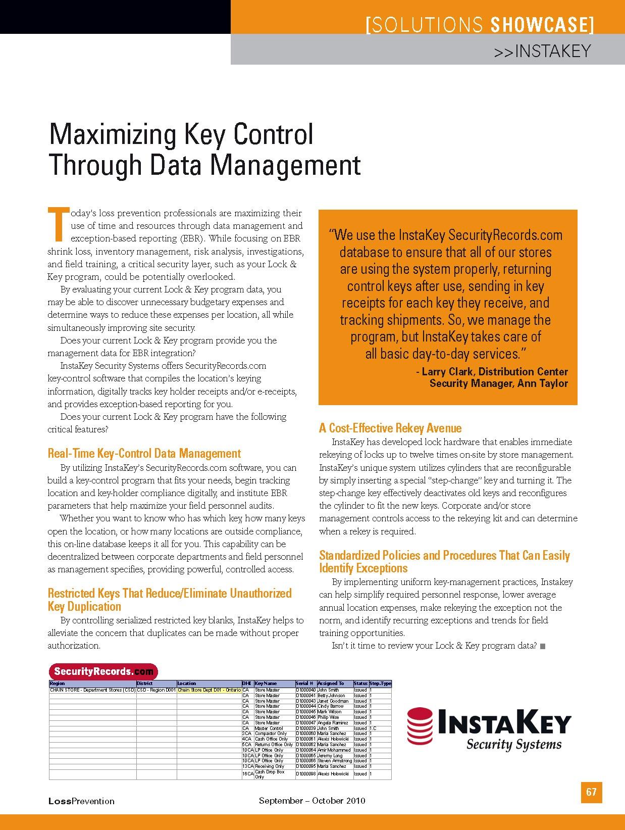 Maximizing Key Control Through Data Management