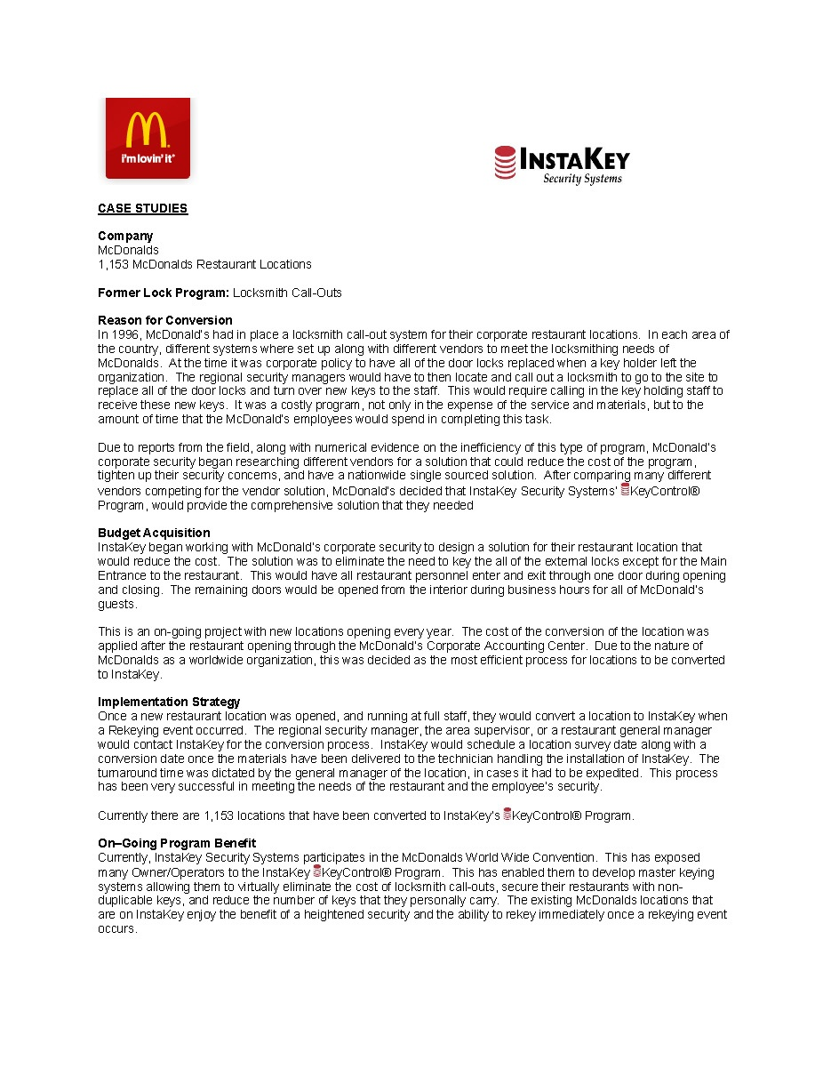 McDonald's – A Case Study