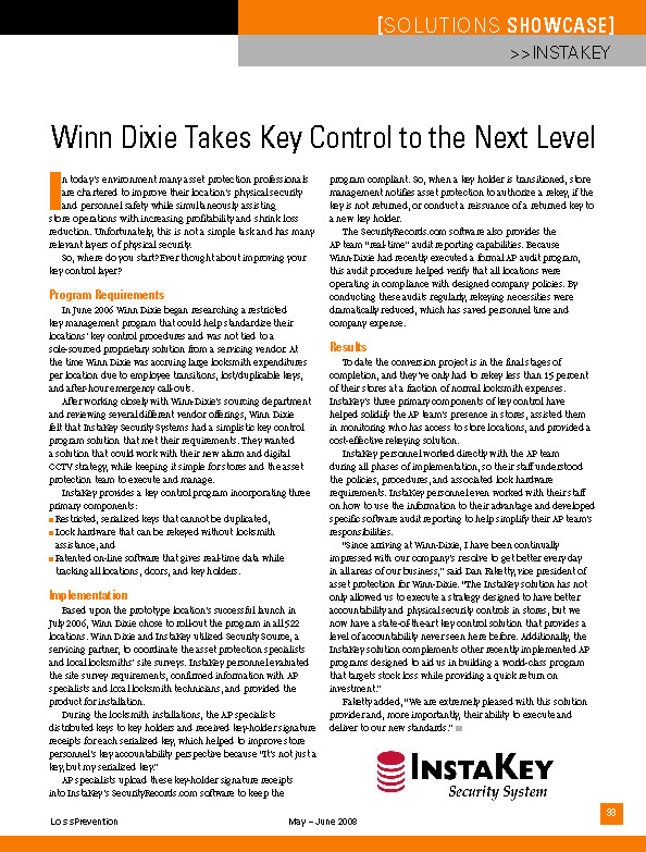 Winn Dixie Takes Key Control to a New Level